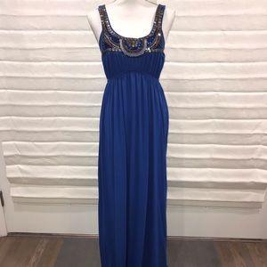 Bailey Blue Cobalt Long Dress w/beading S